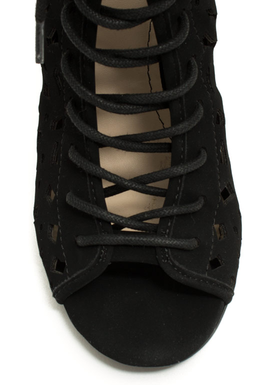 Geo Cut-Out Lace-Up Heels BLACK
