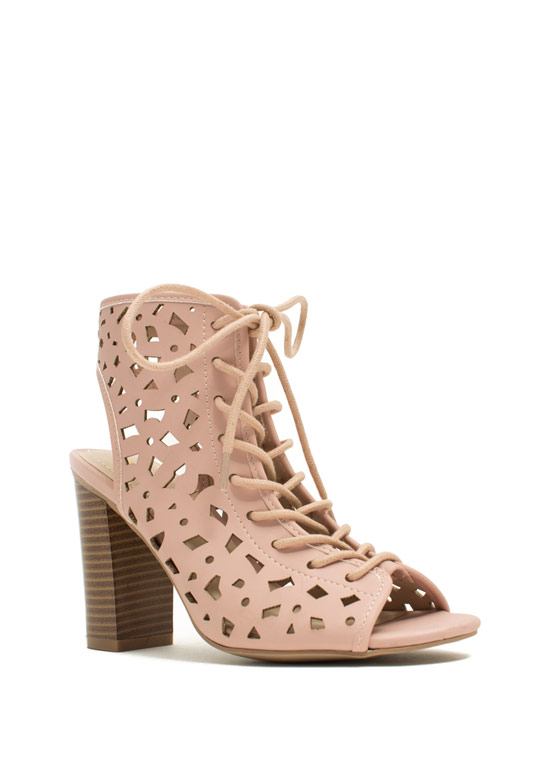 Geo Cut-Out Lace-Up Heels ROSE