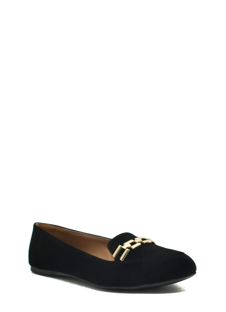 Raising The Bar Chain Trim Loafers BLACK