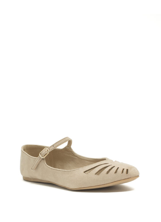 Slit Happens Cut-Out Mary Jane Flats TAUPE