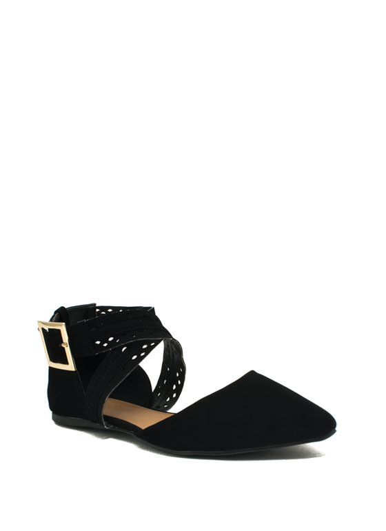 Crossing Over Strappy Laser Cut Flats BLACK