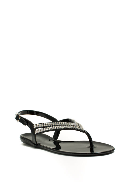 Glitzy V Strappy Jelly Sandals BLACK