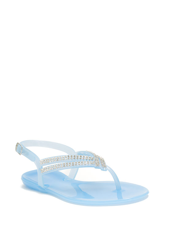 Glitzy V Strappy Jelly Sandals BLUE