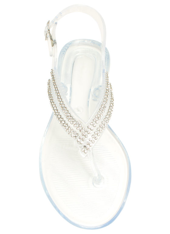 Glitzy V Strappy Jelly Sandals CLEAR
