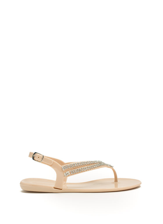 Glitzy V Strappy Jelly Sandals NUDE