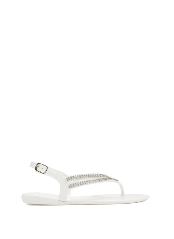 Glitzy V Strappy Jelly Sandals WHITE