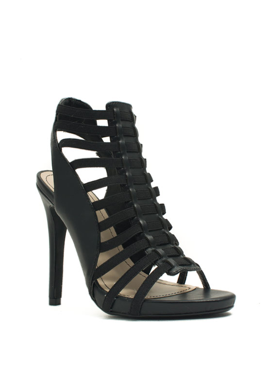 Caged Mixed Media Heels BLACK