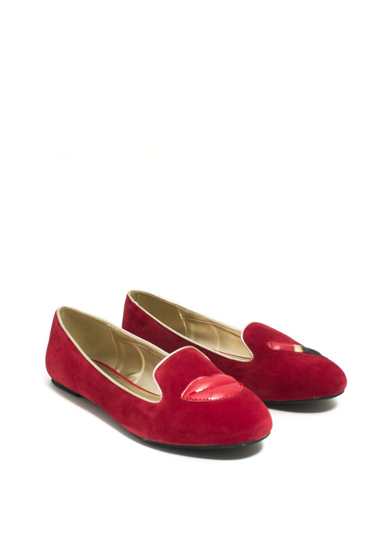 Pucker Up Lips N Lipstick Smoking Flats RED
