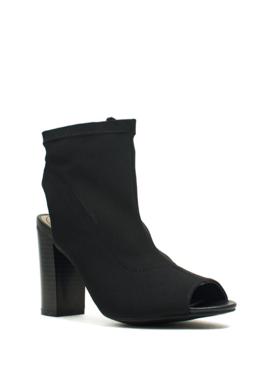 Solid Work Cut-Out Bootie Heels BLACK