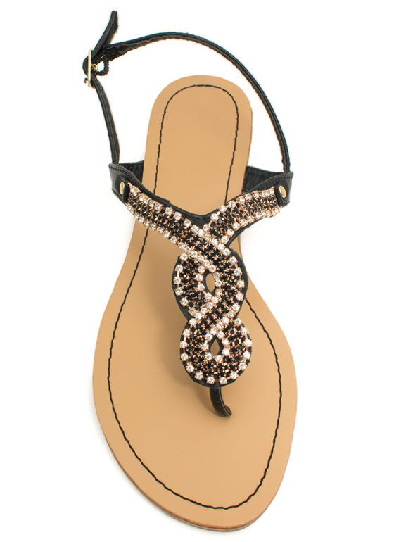 Embellished Figure 8 Sandals BLACK