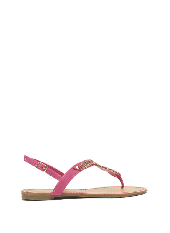 Embellished Figure 8 Sandals FUCHSIA