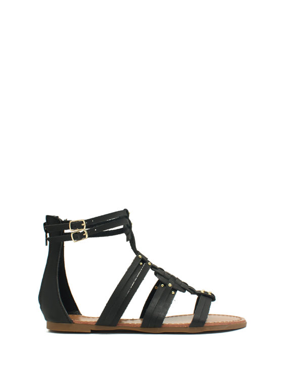 Woven Panel Gladiator Sandals BLACK