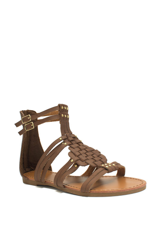 Woven Panel Gladiator Sandals CHESTNUT