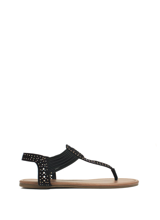 Embellished Cord T-Strap Sandals BLACK