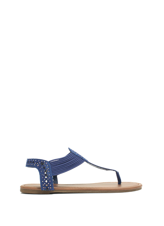Embellished Cord T-Strap Sandals BLUE