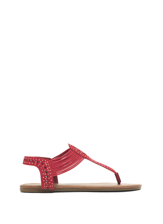 Embellished Cord T-Strap Sandals RED