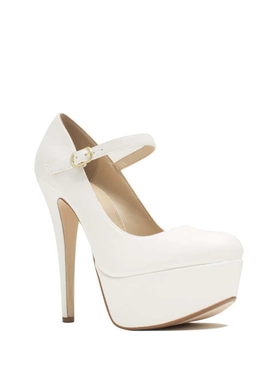 Go Mary Jane Faux Leather Platforms WHITE