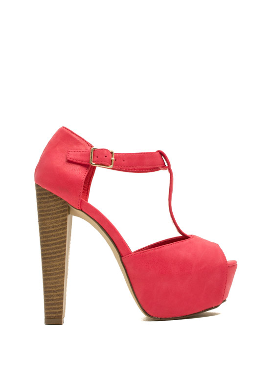 To The T-Strap Chunky Peep-Toe Heels POMEGRANATE