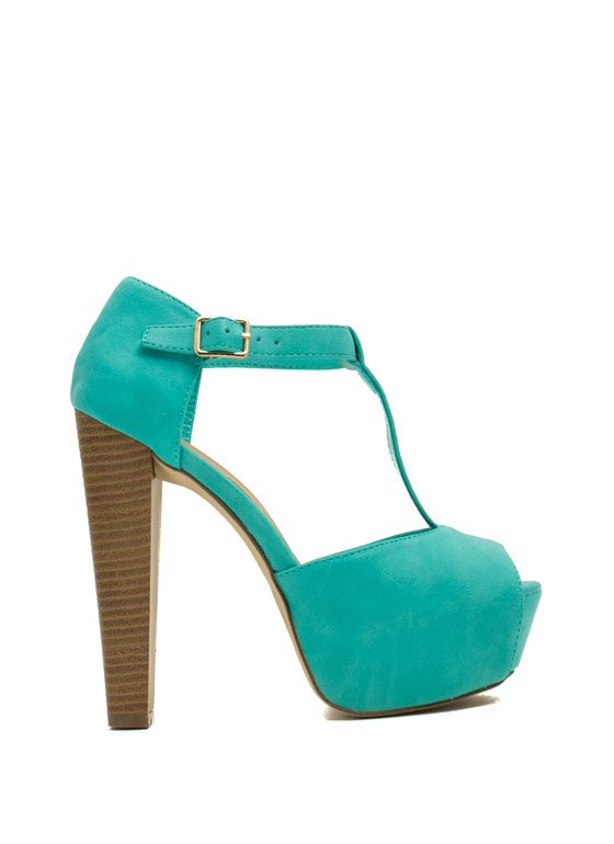 To The T-Strap Chunky Peep-Toe Heels SEAFOAM