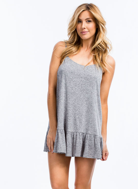 Just Drop It Strappy Cami Shift Dress GREY