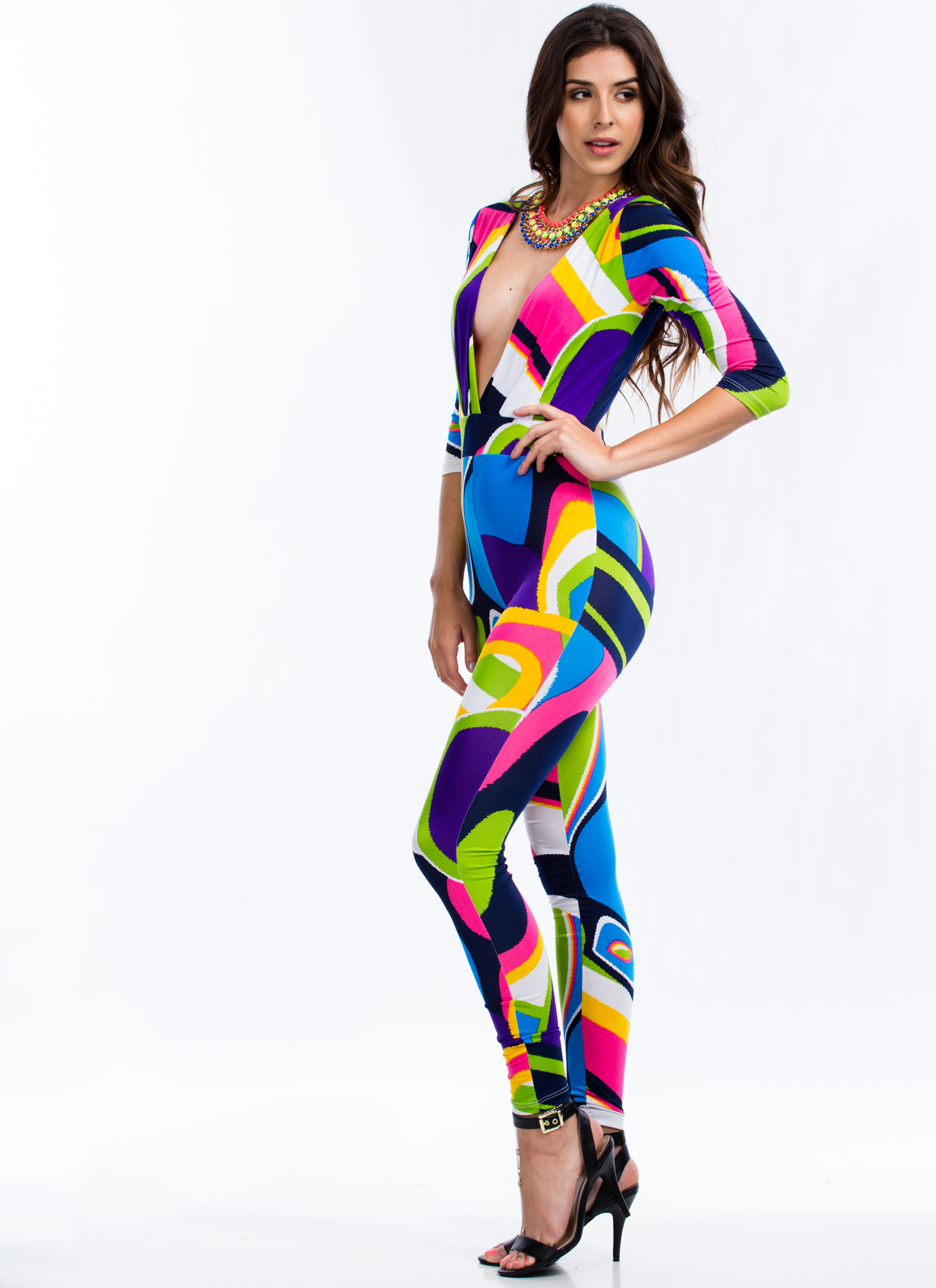 Psychedelic Me Out Plunging Jumpsuit WHITE