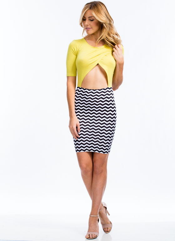 Two Become One Chevron Cut-Out Dress CITRON