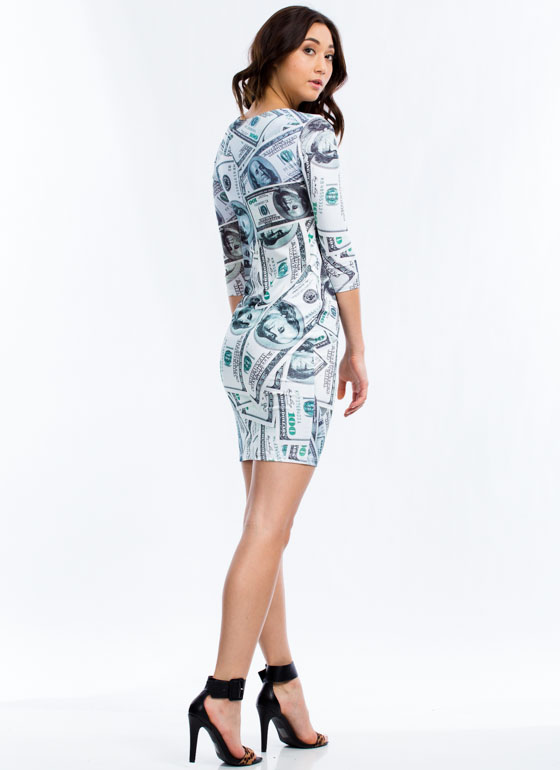 Cash Out Hundred Dollar Bill Dress GREEN