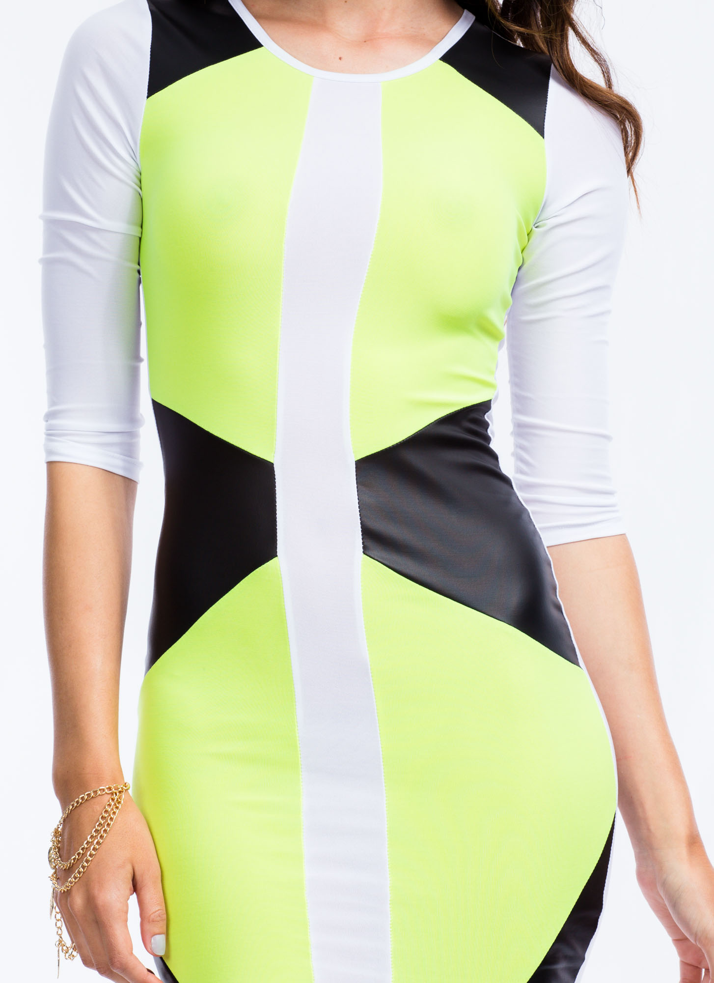 Highlight Me Colorblock Bodycon Dress NEONYELLOW