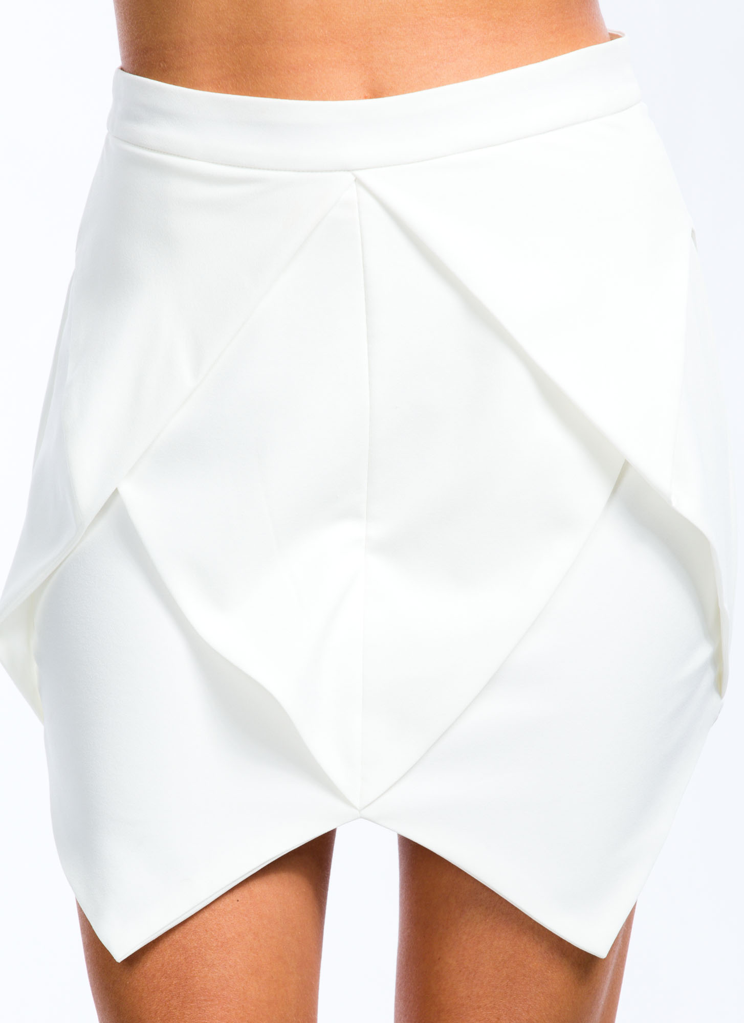 Exposed Zipper Origami Skirt WHITE