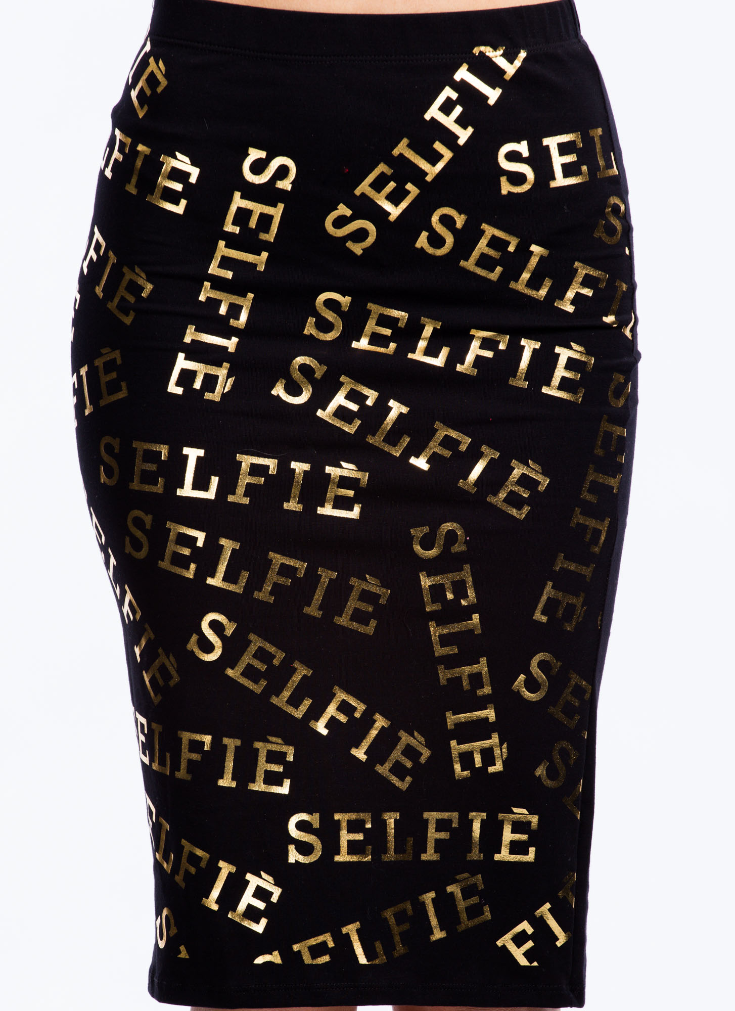 Let Me Take A Selfie Pencil Skirt BLACK
