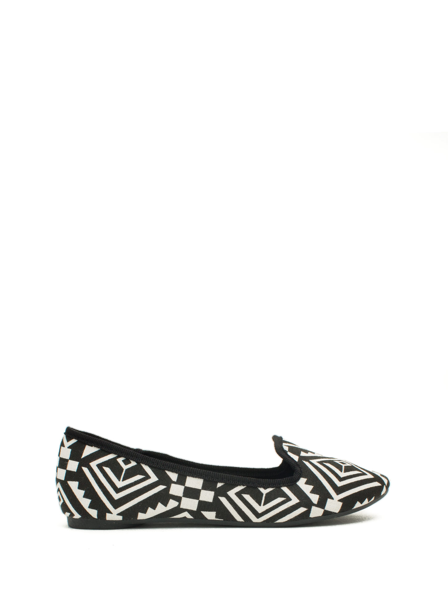 Be A Print-cess Smoking Flats BLACKWHITE