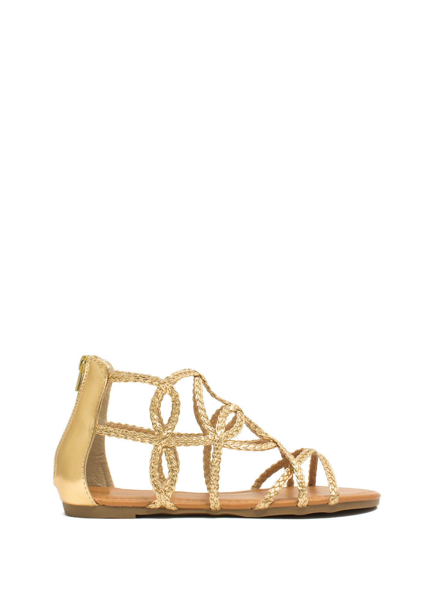 Loop-The-Loop Metallic Braided Sandals GOLD