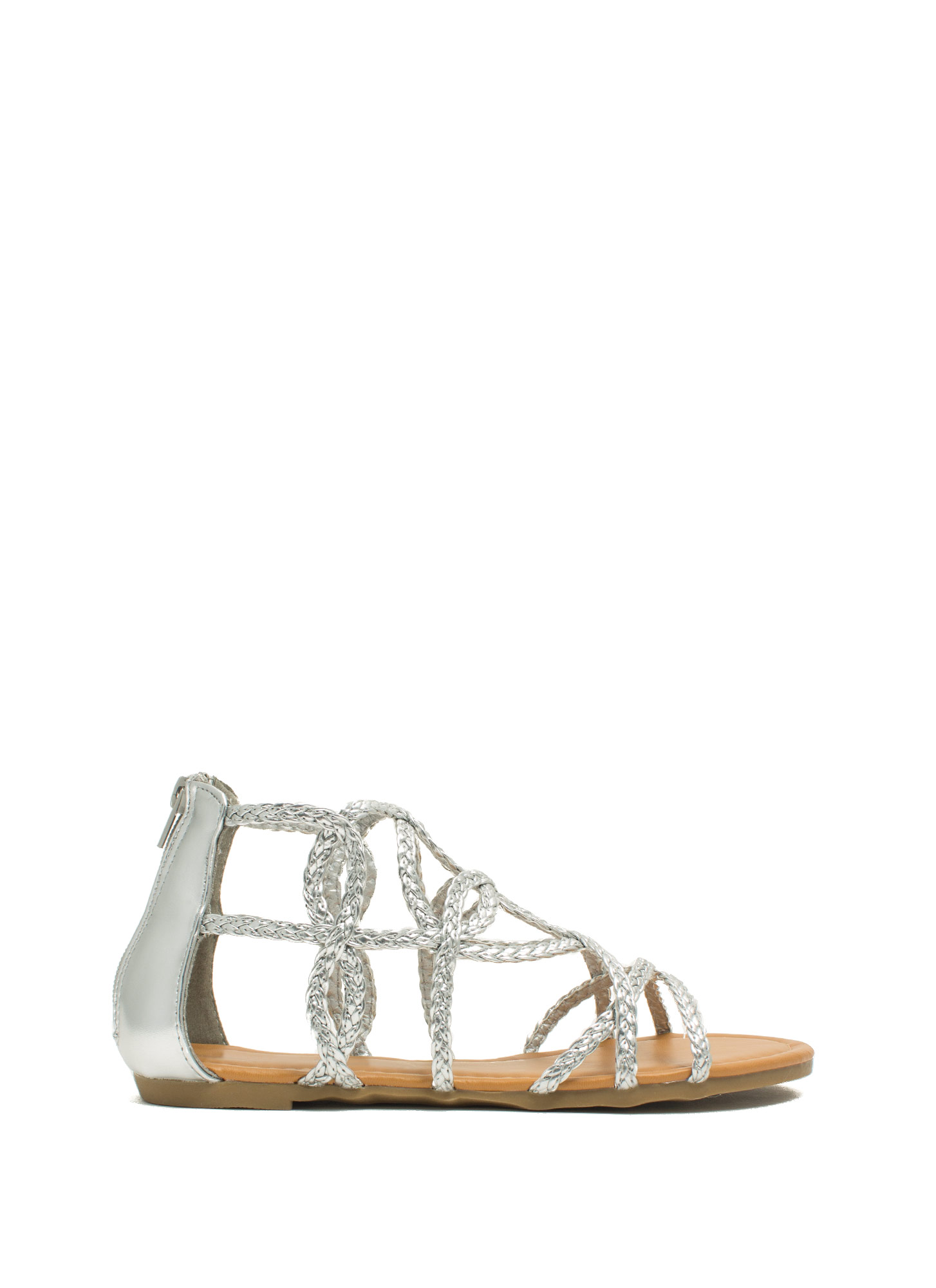 Loop-The-Loop Metallic Braided Sandals SILVER