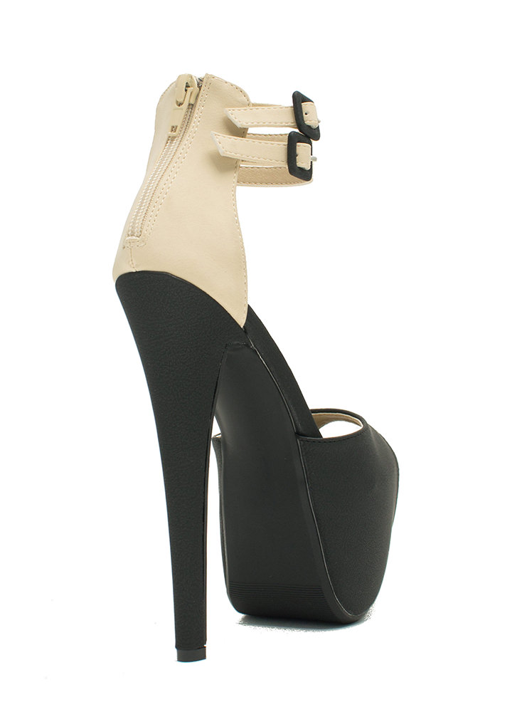 How High Peep-Toe Colorblock Heels BLACK