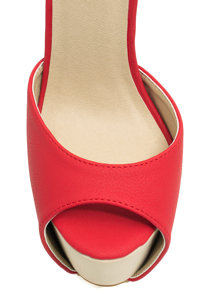 How High Peep-Toe Colorblock Heels RED