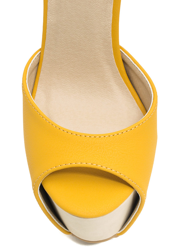 How High Peep-Toe Colorblock Heels YELLOW