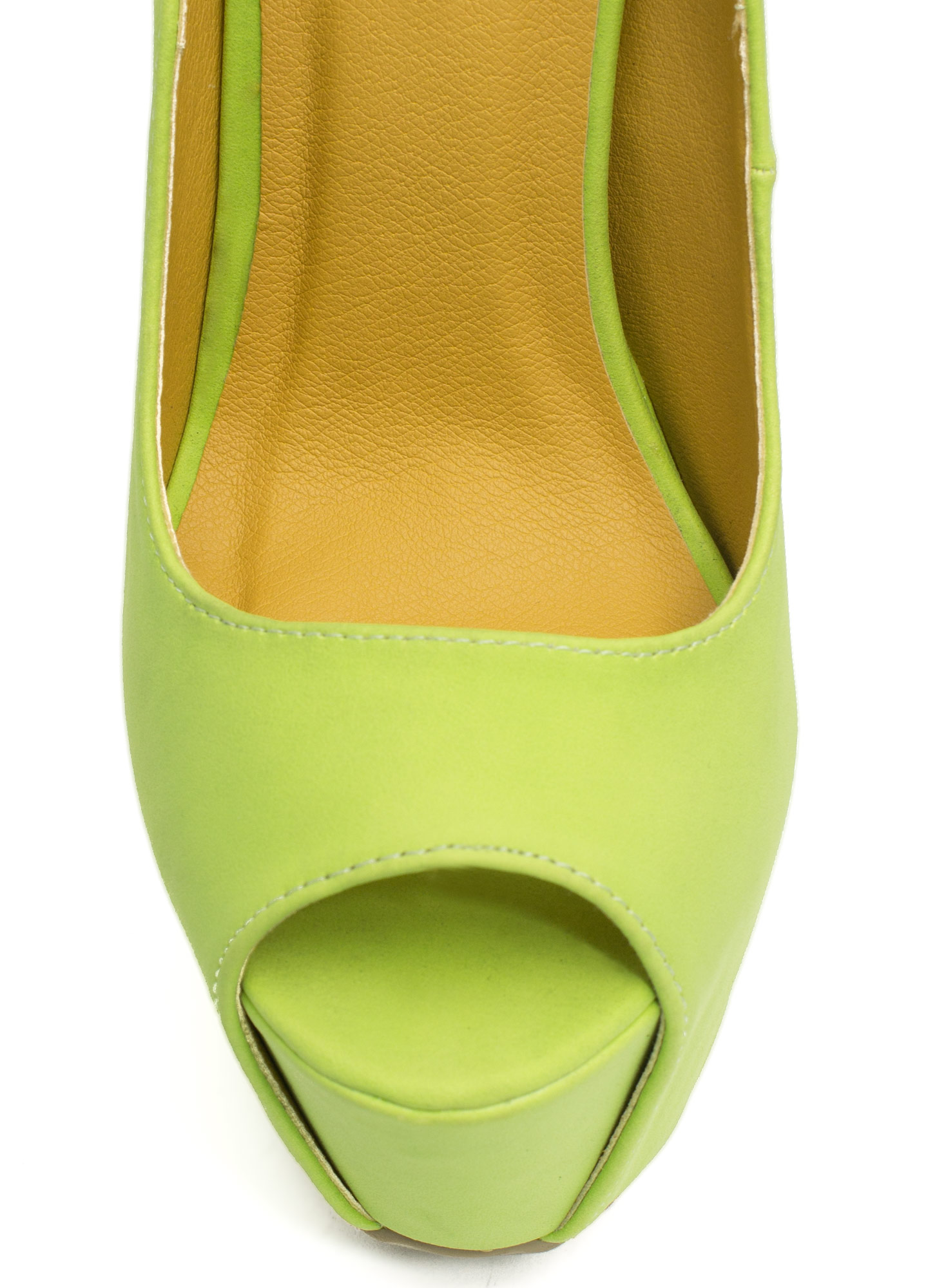 Peep-Toe Show Faux Leather Heels LIME