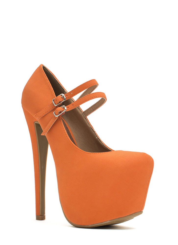 She's Back Platform Mary Jane Heels ORANGE