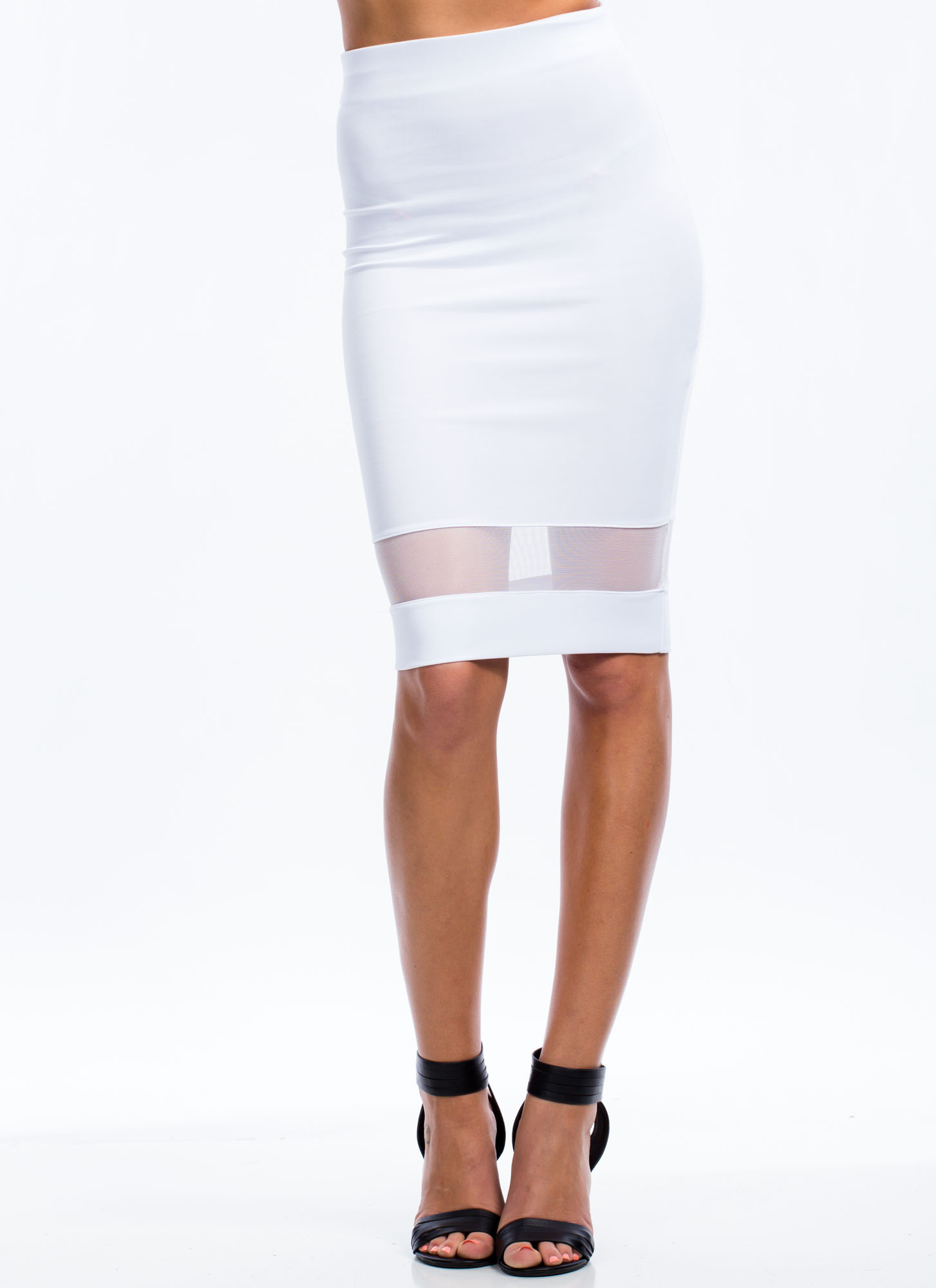 Mesh You Up Midi Skirt WHITE