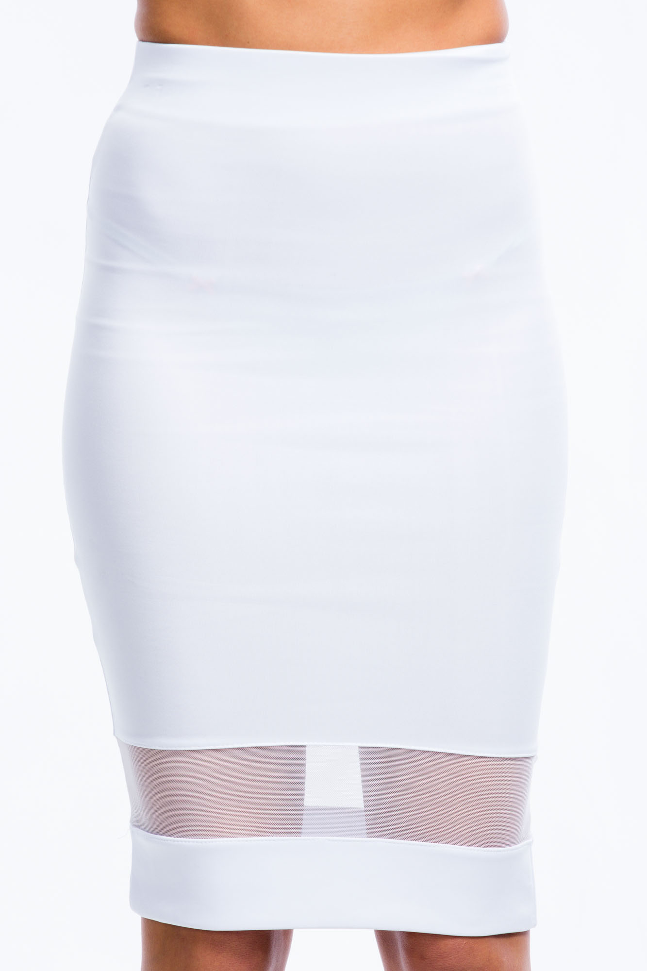 Mesh Stripe Midi Skirt WHITE