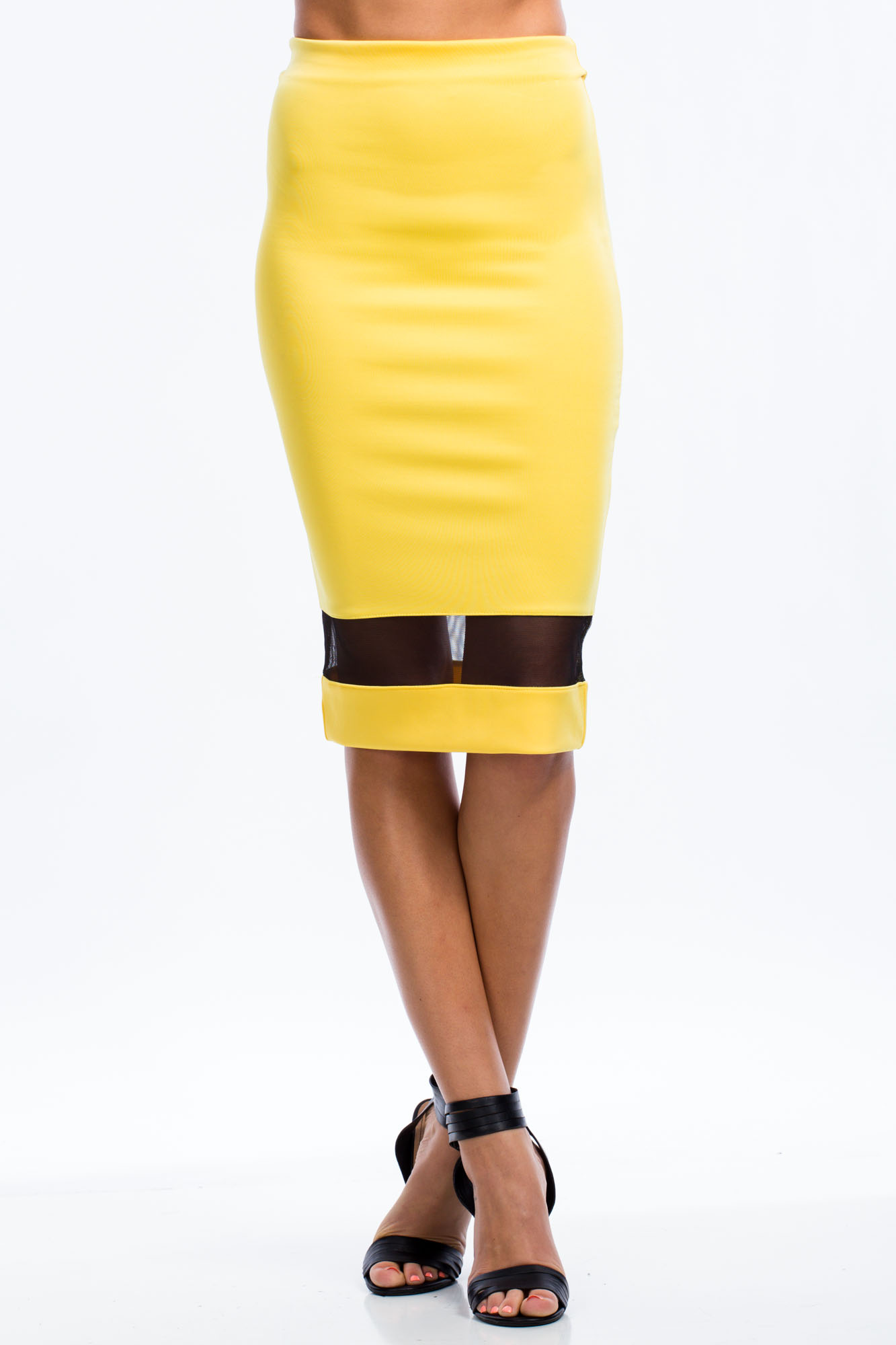 Mesh You Up Midi Skirt YELLOW