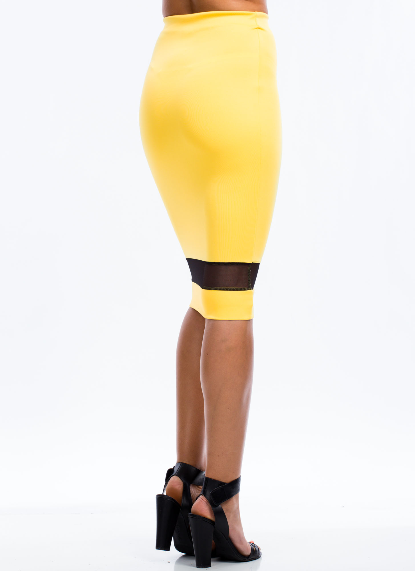 Mesh Stripe Midi Skirt YELLOW