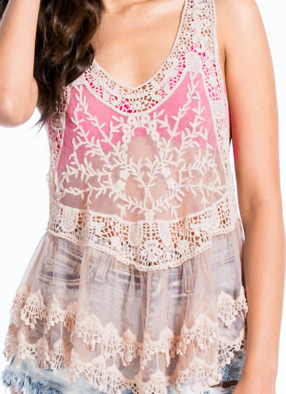 Romantic Lace 'N Crochet Tank PINK