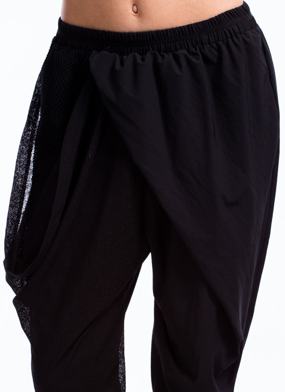 Gathered Mesh N Net Harem Pants BLACK