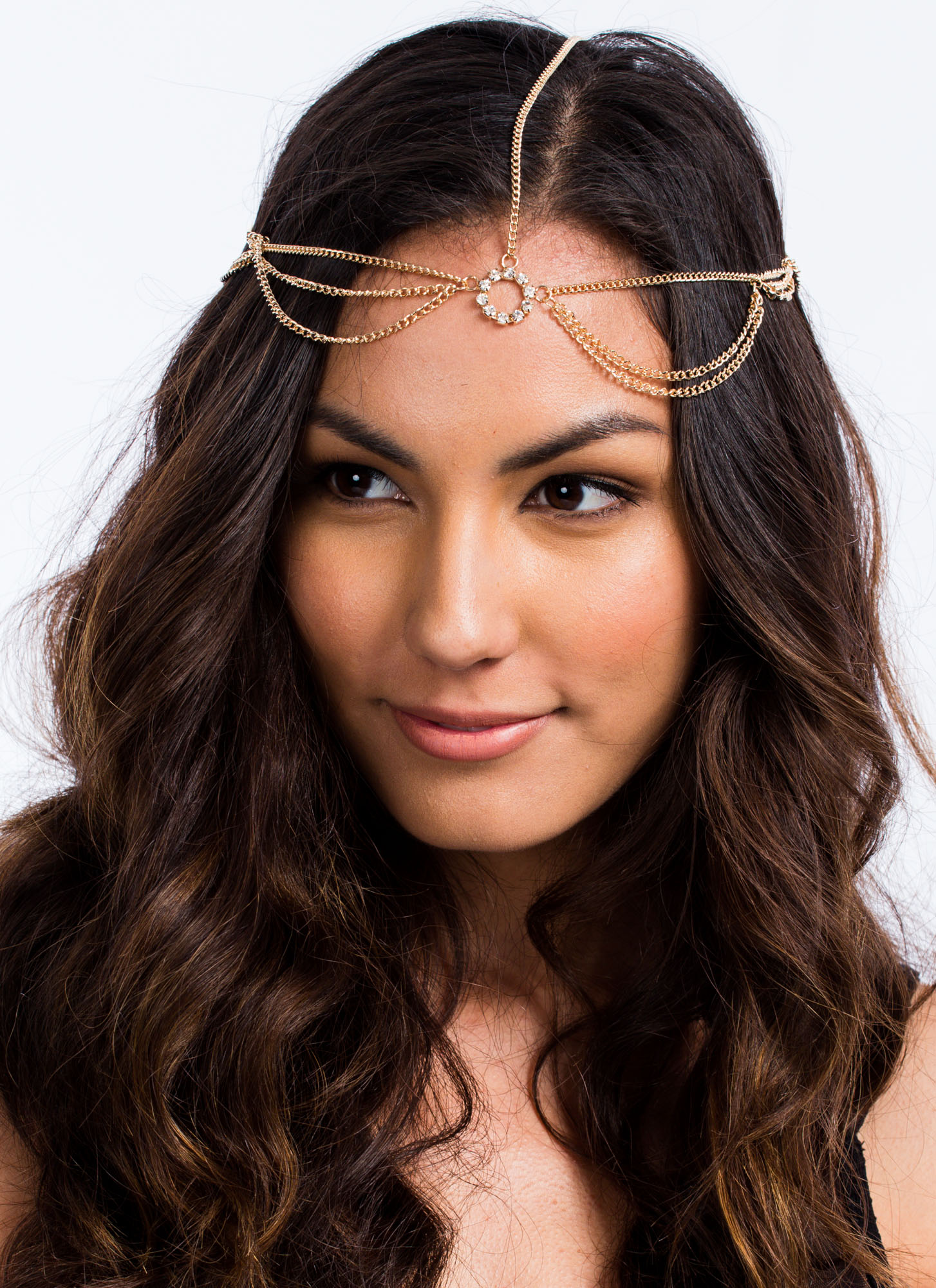 Embellished Ring Head Chain GOLD