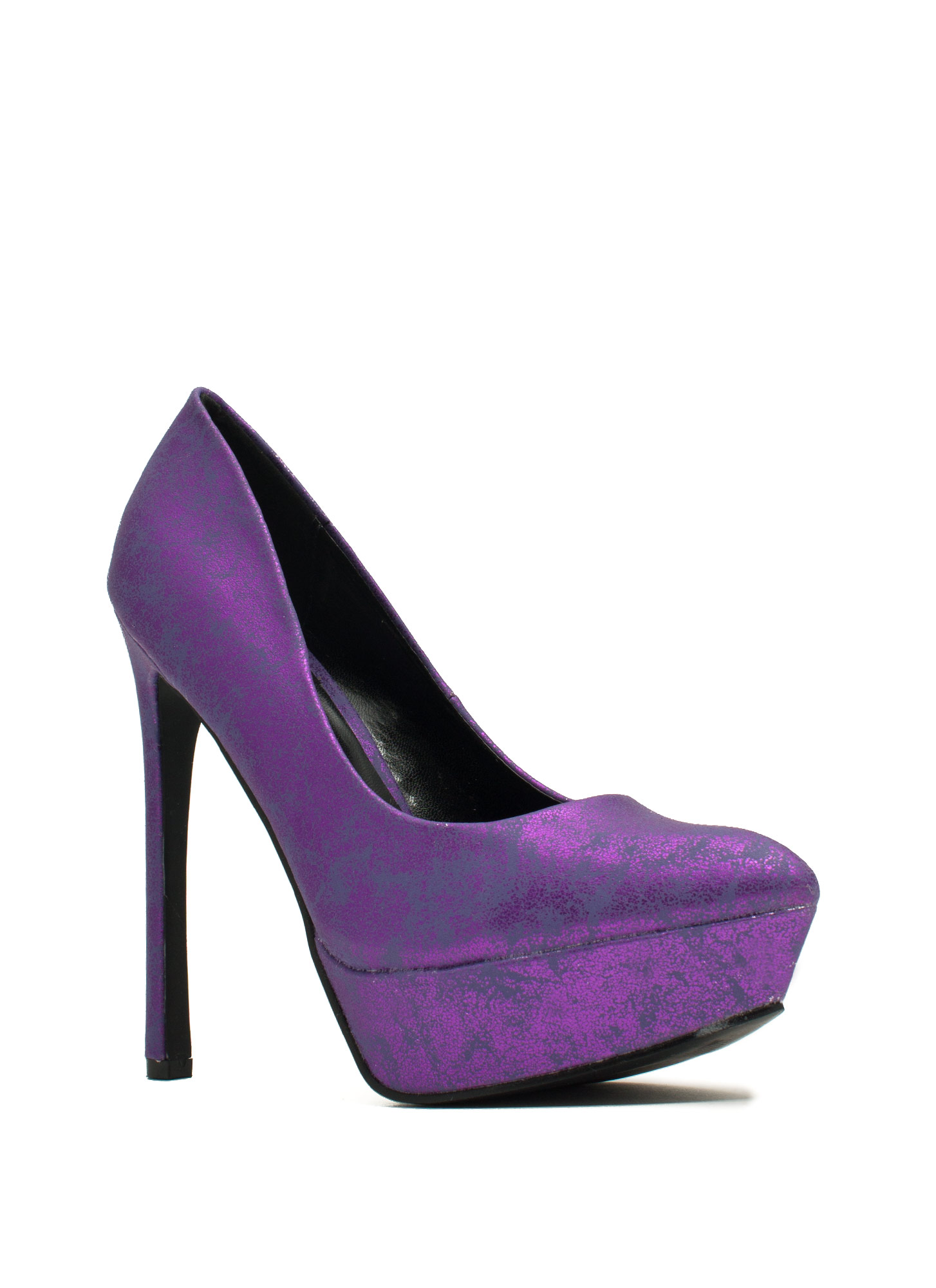Point The Way Marbled Platform Heels PURPLE
