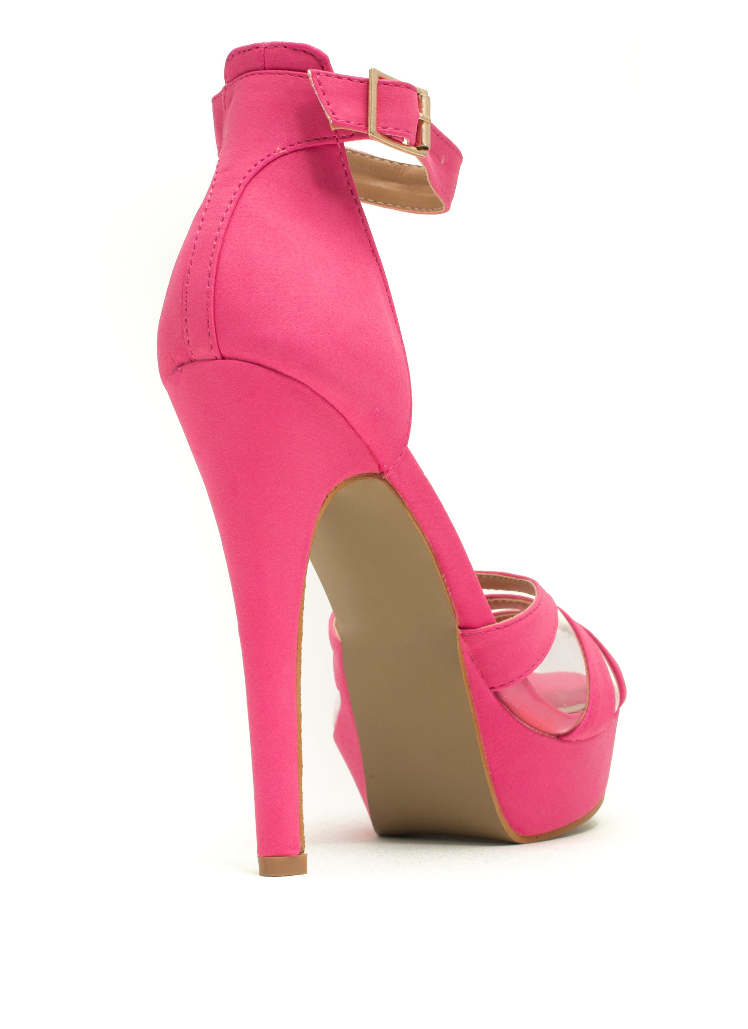 Clearly Strappy Faux Nubuck Heels HOTPINK