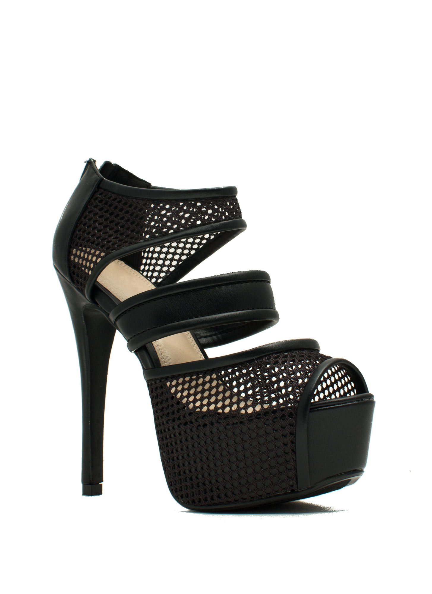 Sporting Around Mesh Heels BLACK