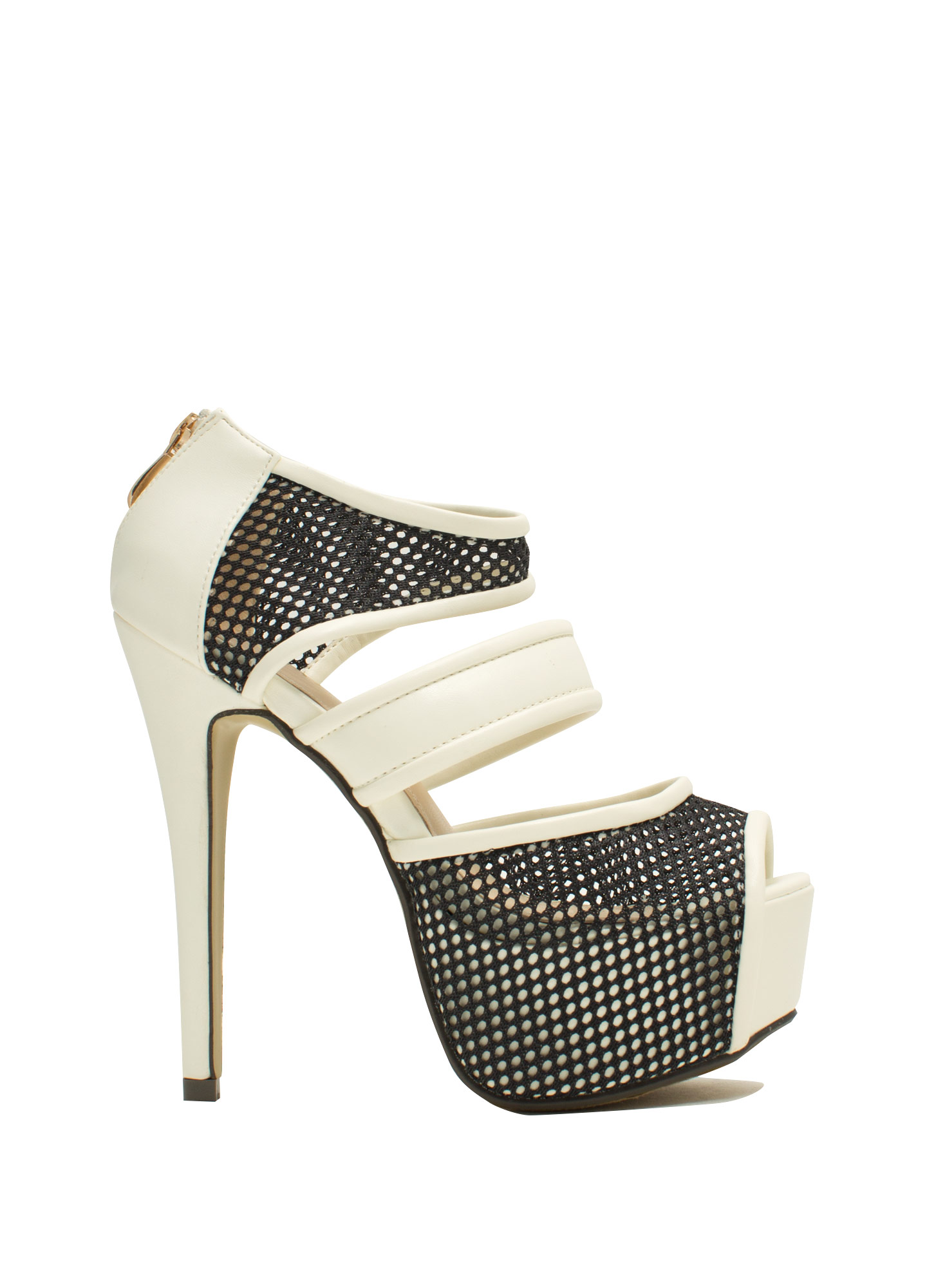 Sporting Around Mesh Heels WHITE