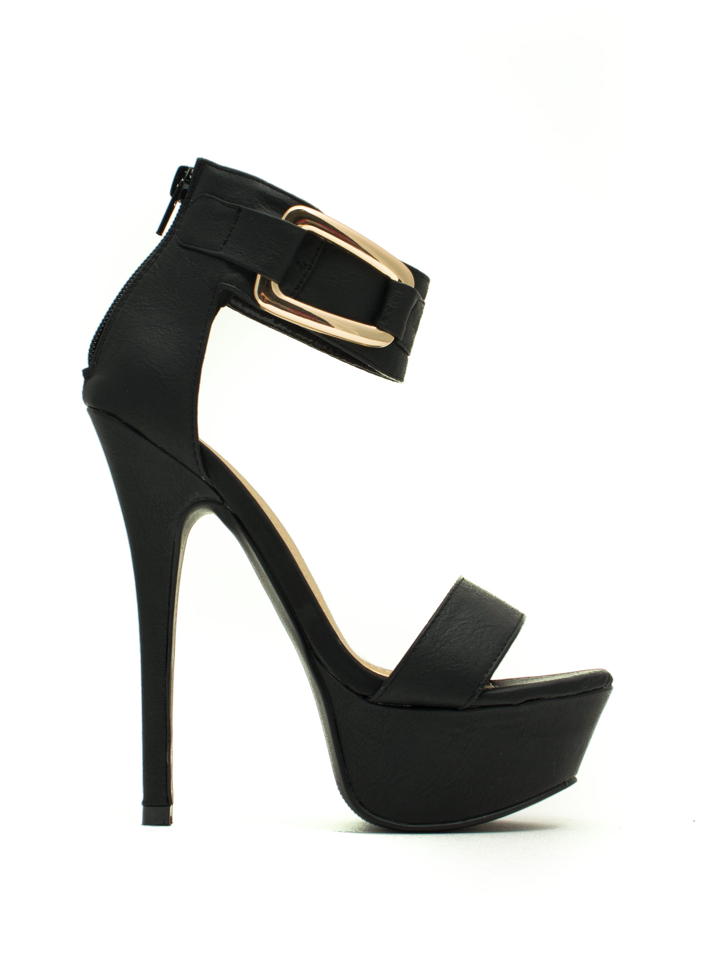 Good Luck Buckle Platform Heels BLACK